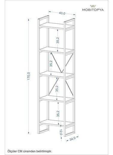 Mobitopya Nilamu Antrasit 40 cm Kitaplık, Metal Aksamlı, Açık Raf, Organizer, Ofis, Ev, 5 Raflı Kitaplık Antrasit